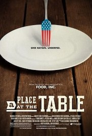 "A Place at the Table documentary movie poster featuring an empty white plate with the words ""One Nation. Underfed"" and a fork with the design of the American flag on it"