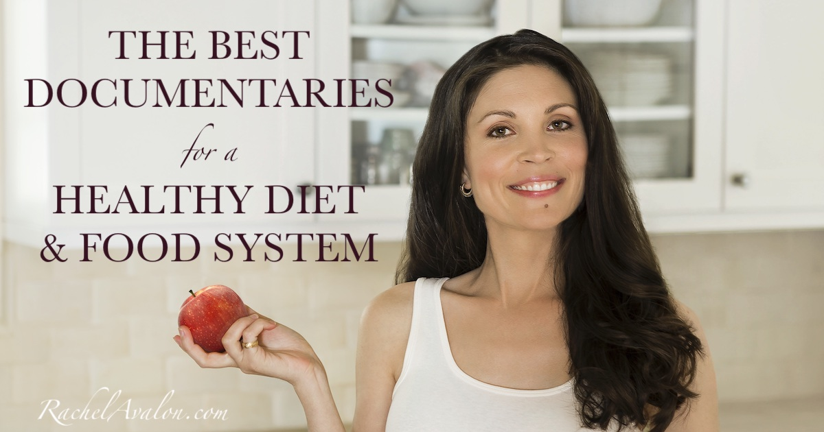 Best list of documentaries for a healthy diet and lifestyle with Rachel Avalon holding red apple