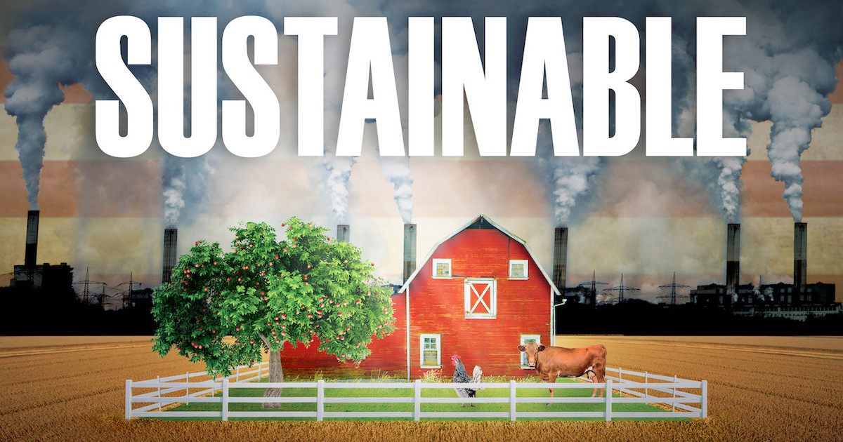Sustainable documentary family farm surrounded by factories and pollution