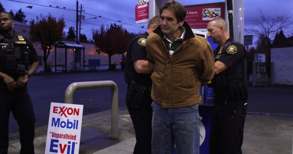 The Reluctant Radical documentary film Ken Ward arrested protesting Exxon Mobile