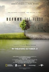 Before the Flood documentary poster with tree half green with grass and half brown with barren ground