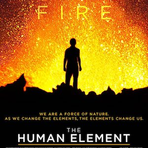 The Human Element Documentary Movie Poster Silhouette of Man Standing by Erupting Volcano